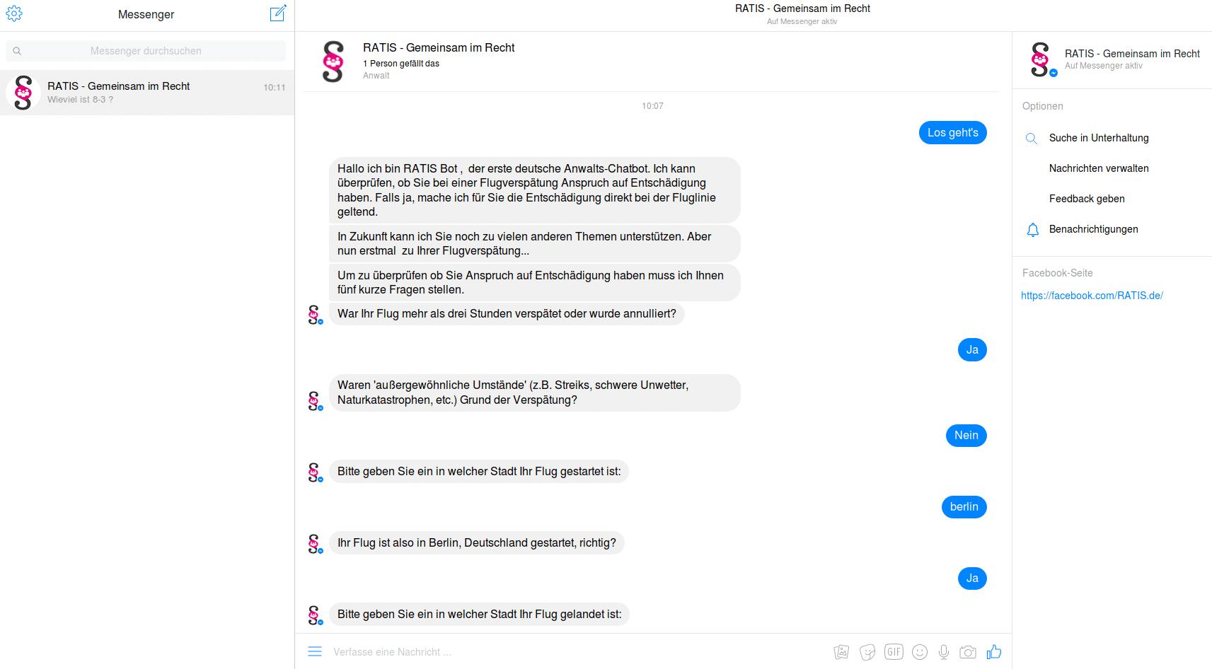 RATIS Anwalts-Chatbot Screenshot 2