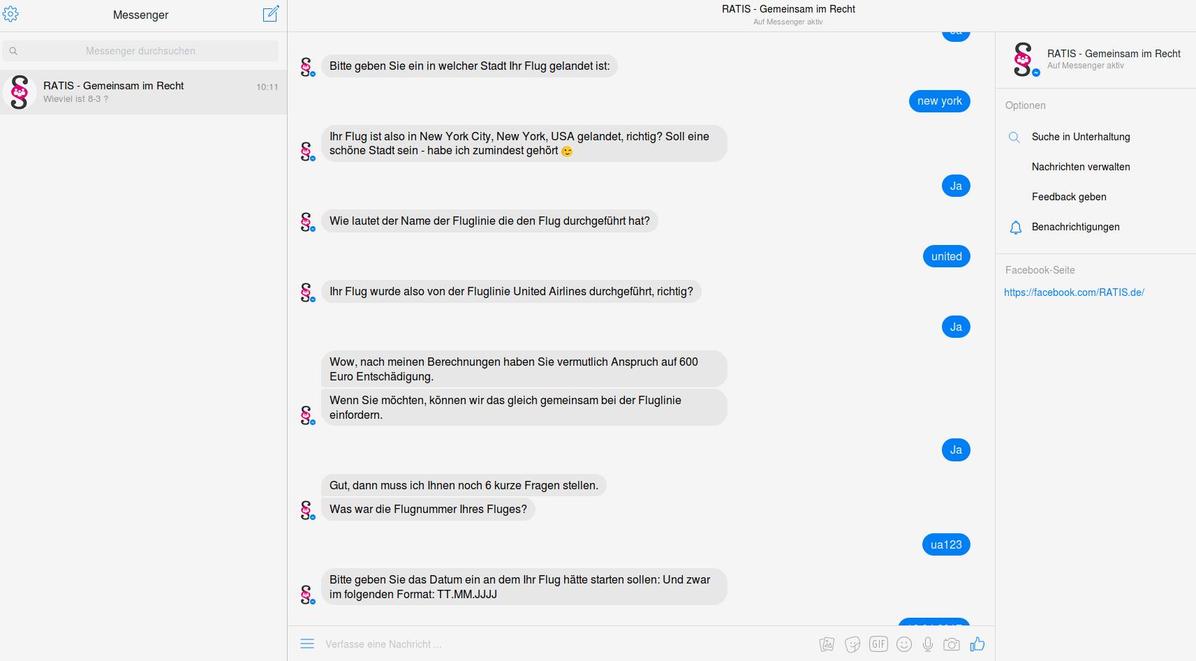 RATIS Anwalts-Chatbot Screenshot